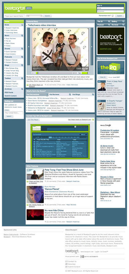 Beatport homepage
