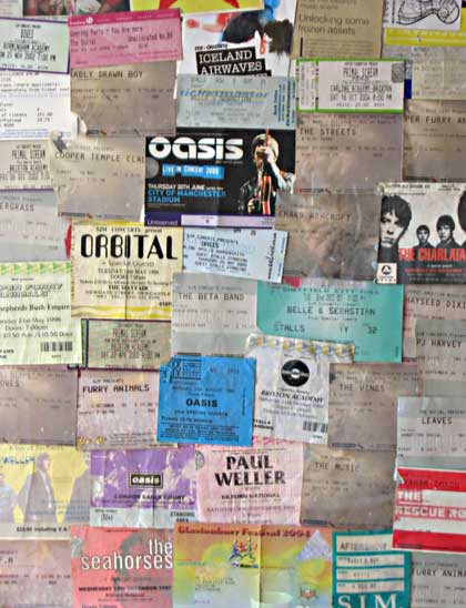 Gig tickets montage