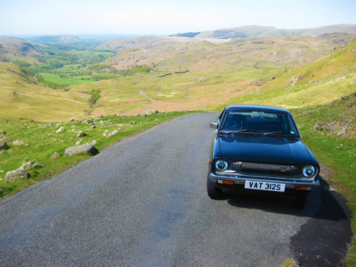 The Datsun on Hardknott Pass
