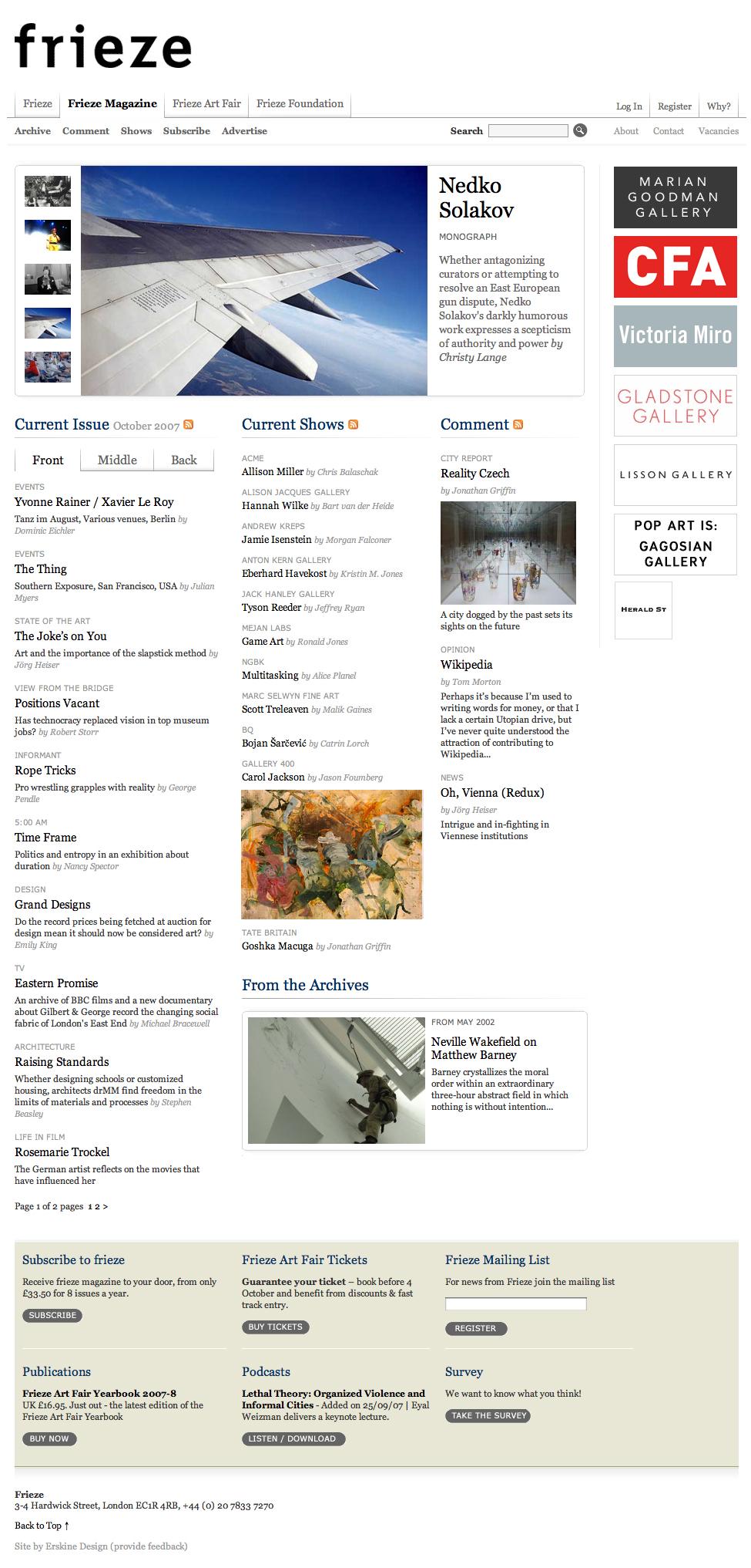 frieze magazine redesign 2007