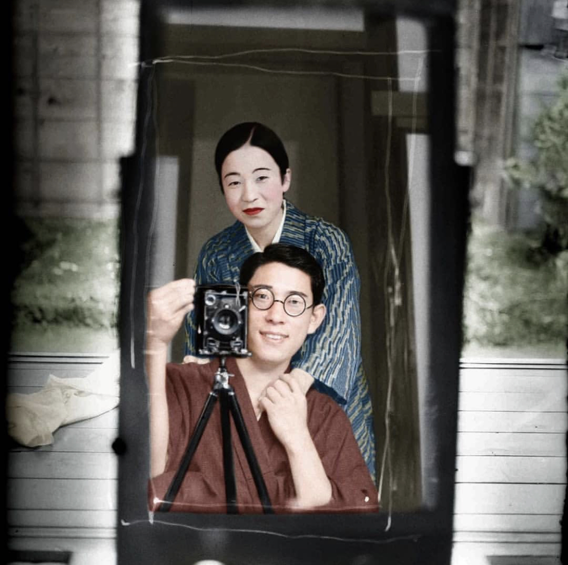 100-year-old Japanese couple selfie, colourised
