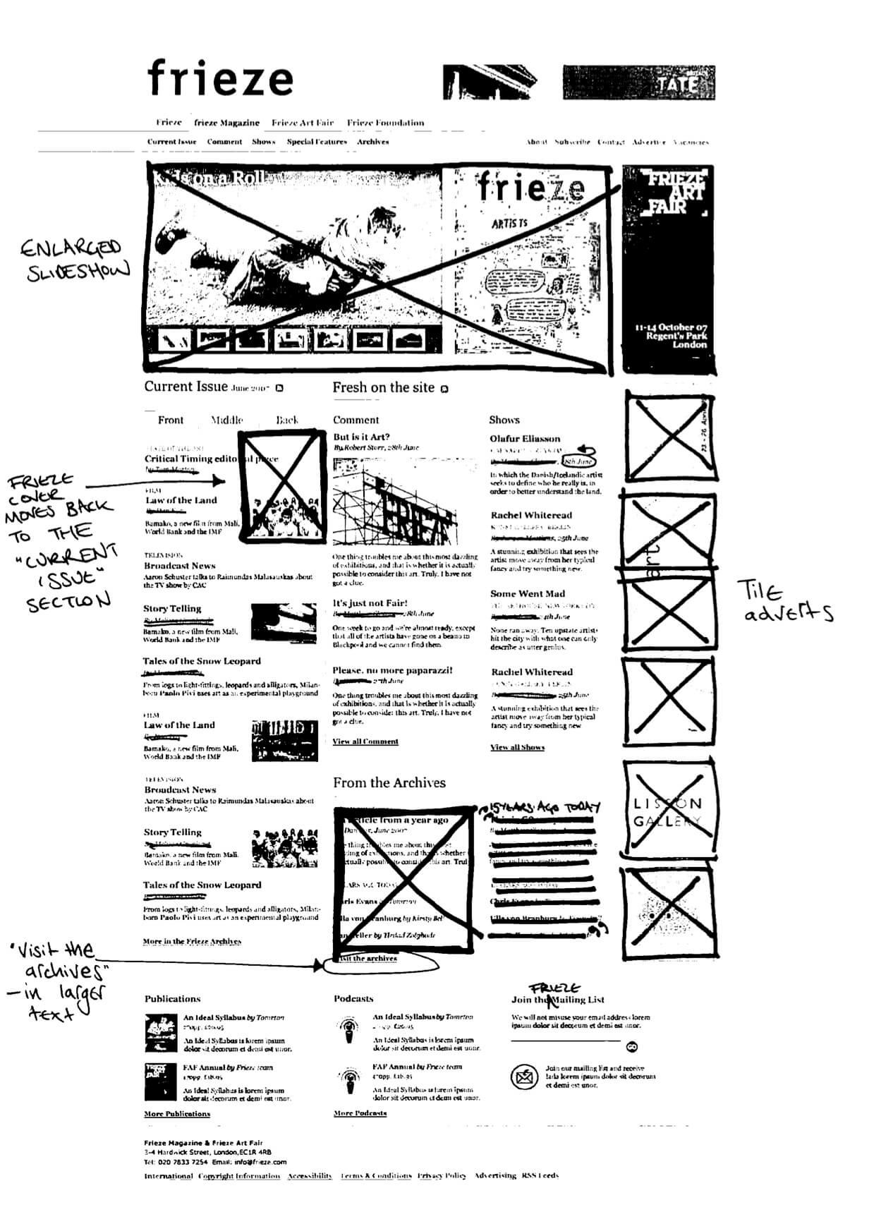 Collaborative sketch for Frieze magazine website