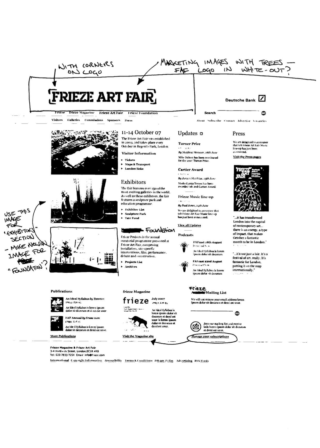 Collaborative sketch for Frieze Art Fair website
