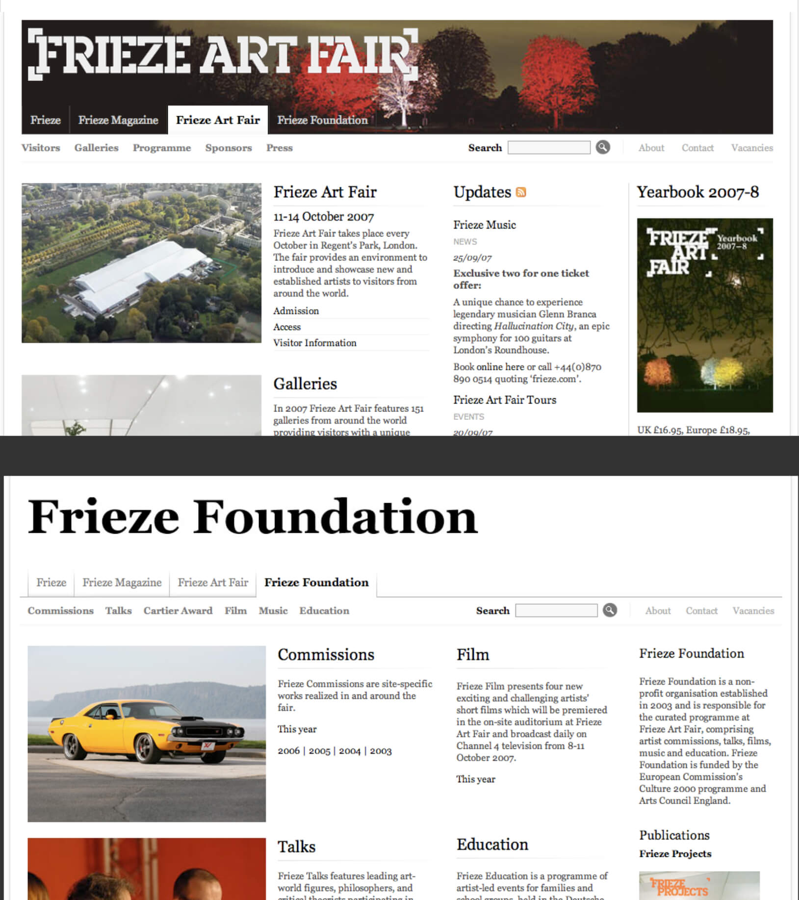 The relaunched Frieze Art Fair and Foundation websites