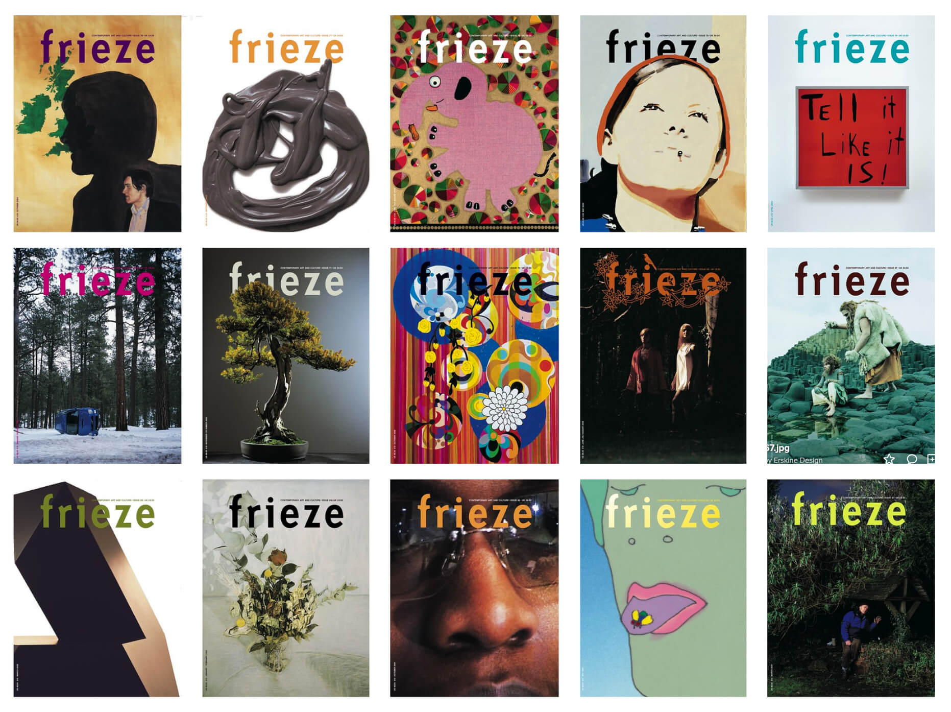 A selection of Frieze magazine covers