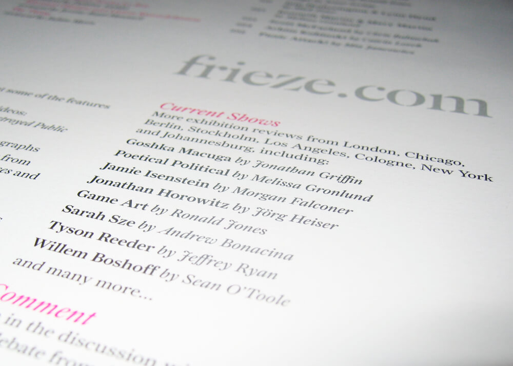Frieze online in the printed magazine contents