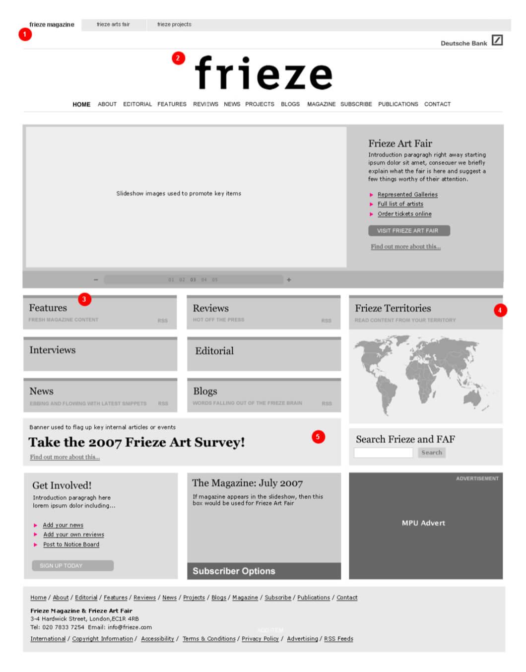 High-level wireframing for Frieze magazine
