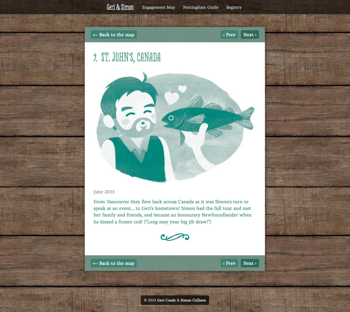 Web detail of Newfoundland tradition with Simon kissing a frozen cod