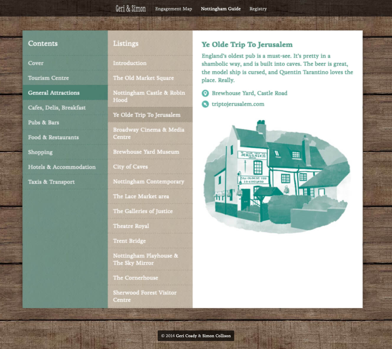 Web Nottingham guide showing Ye Olde Trip to Jerusalem pub