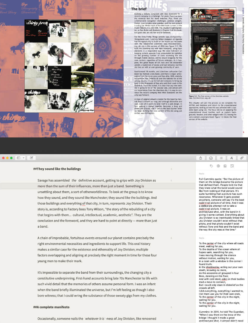 Book spread and Ulysses software